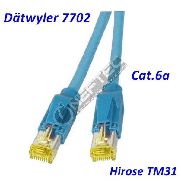 Cat.6a Patchkabel Dätwyler 7702 blau Hirose TM31 RJ45