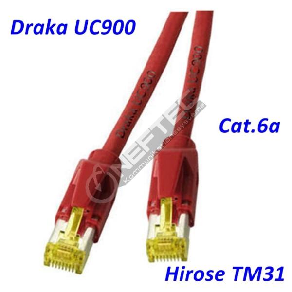 Cat.6a Patchkabel Draka UC900 rot Hirose TM31