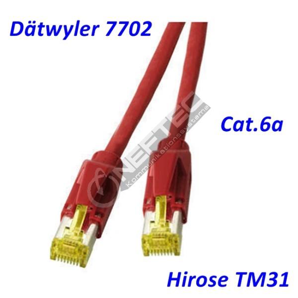 Cat.6a Patchkabel Dätwyler 7702 rot Hirose TM31