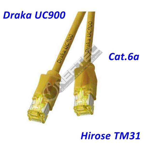 Cat.6a Patchkabel Draka UC900 gelb Hirose TM31