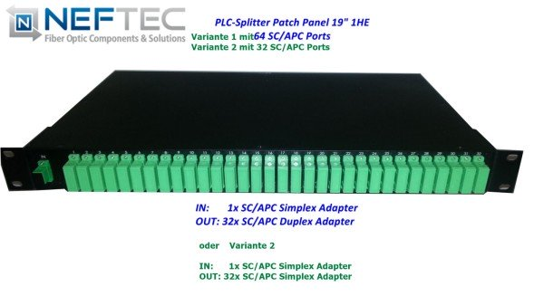 PLC-Splitter Patchpanel 19'' 1HE SC APC