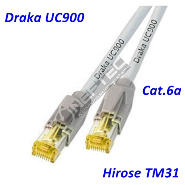 Cat.6a Patchkabel Draka UC900 grau Hirose TM31
