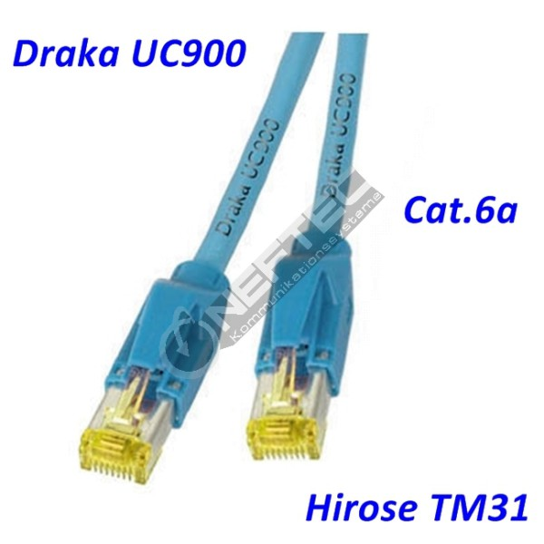 Cat.6a Patchkabel Draka UC900 blau Hirose TM31