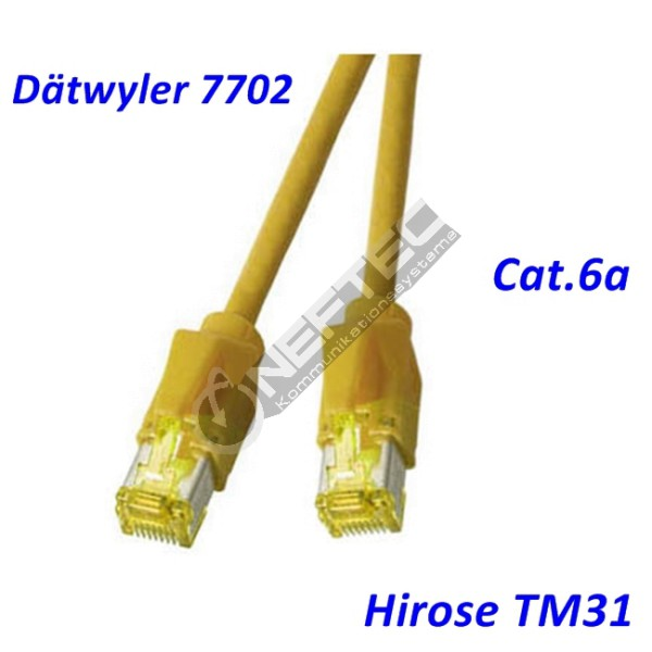 Cat.6a Patchkabel Dätwyler 7702 gelb Hirose TM31