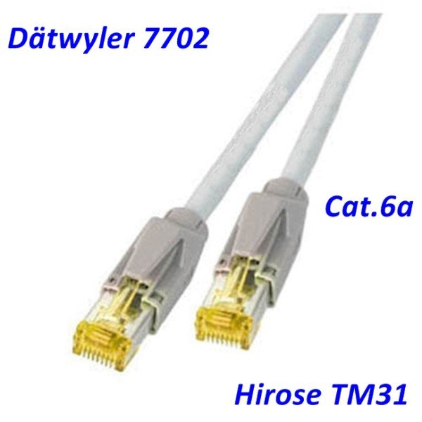 Cat.6a Patchkabel Dätwyler 7702 grau Hirose TM31